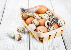 Basket with fresh eggs Royalty Free Stock Image