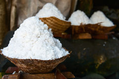 Basket with fresh extracted sea salt in Bali, Indonesia Stock Image