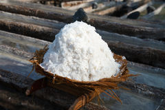 Basket with fresh extracted sea salt in Bali, Indonesia Stock Photo