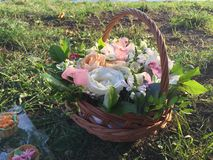 Basket with fresh flowers on the green grass Royalty Free Stock Image