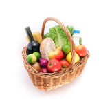 Basket with fresh food royalty free stock photos