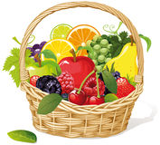 Basket of fresh fruit. Wicker basket of different fresh fruit s isolated on white background Royalty Free Stock Image