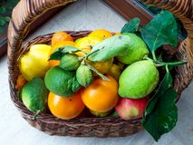 Basket of Fresh Fruits at the Gardens Balcony. royalty free stock photography