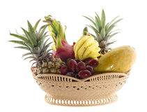 Basket of fresh fruits isolated on white Royalty Free Stock Image