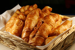 Basket of Fresh hot croissant Royalty Free Stock Photos