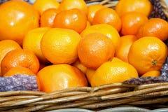 Basket of fresh mandarins Royalty Free Stock Photography