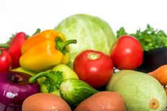 Fresh mixed vegetables. Basket with fresh mixed vegetables on white background stock photo