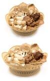 Basket of Fresh Organic Mushrooms on white. Background Royalty Free Stock Photos
