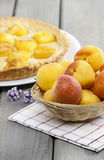 Basket of fresh peaches stock images