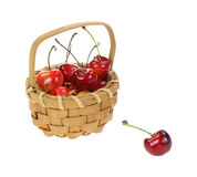 Basket Fresh Picked Cherries Royalty Free Stock Photography