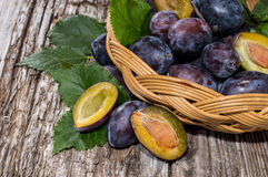 Basket with fresh Plums Royalty Free Stock Photo