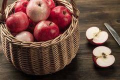 Basket of fresh ripe red apples Royalty Free Stock Photography