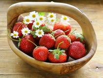 Basket of fresh ripe strawberries - summer berries Royalty Free Stock Photo
