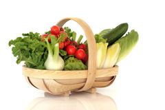 Basket of Fresh Salad Vegetables Stock Photos