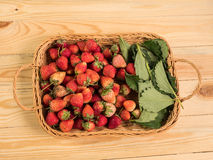 Basket of fresh strawberries Royalty Free Stock Photos