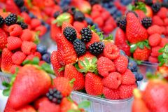 Basket with fresh strawberry, blackberries, blueberries and raspberries. Basket with fresh strawberry, blackberries, blueberries and raspberries Stock Images
