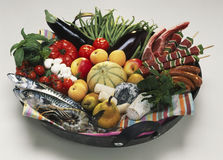 Basket of fresh summer products Stock Images