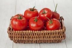 Basket of fresh tomatoes Royalty Free Stock Photo