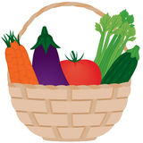 Basket of Fresh Vegetables Stock Photos
