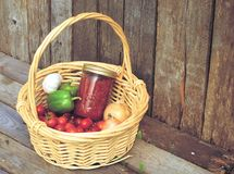 Basket of fresh vegetables and sauce. Royalty Free Stock Images