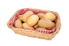 Basket of freshly baked bread rolls Stock Photo