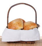 Basket Of Freshly Baked Ciabatta Rolls Stock Photo