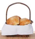 Basket Of Freshly Baked Ciabatta Rolls Stock Photo