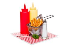 Basket of freshly made southern fries with ketchup Royalty Free Stock Images