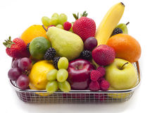 Basket of fruit. Assortment background stock photos