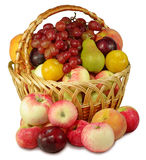 Basket of fruit. Isolated image of a basket of fruit on a white background Stock Images