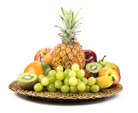 Basket of fruit. Different varieties, isolated Stock Photos