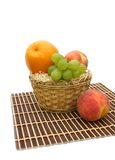 Basket with fruit. Yellow basket with fruit on a white background Stock Photography