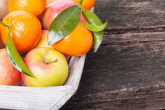 Basket of fruit, apples, tangerines Royalty Free Stock Photo