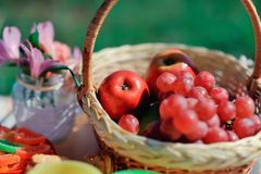 Basket with fruit and flowers Royalty Free Stock Images