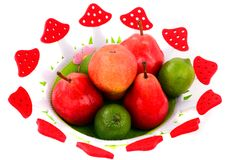 A basket of fruit isolated on white Royalty Free Stock Photos