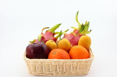 A basket of fruit. The picture is a basket of fruit, they are pitaya, mango, orange, red delicious apple Royalty Free Stock Image