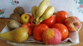 Basket of fresh fruit. Basket of fresh red and yellow fruit Stock Photography