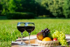 Basket of fruit and two glasses of wine in the nature for relaxation. A basket of fruit and two glasses of wine in the nature for relaxation Royalty Free Stock Image