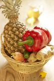 Basket of fruit and vegetables Royalty Free Stock Photos