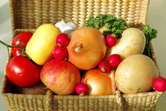Basket of fruit & vegetables Stock Photo