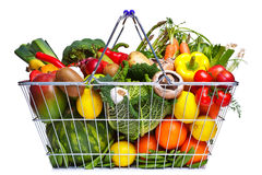Basket fruit and vegetables isolated on white Royalty Free Stock Photos