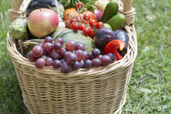Basket with fruit and vegetables Stock Photo