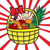 Basket with fruits. A colorful illustration of basket with fruits Stock Photo