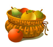 Basket of fruits. Wicker basket full of fruits isolated on white Royalty Free Stock Photos