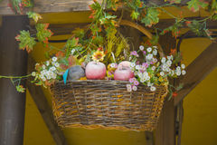 Basket of fruits and flowers Royalty Free Stock Photography