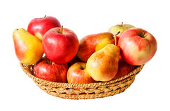 Basket with fruits isolated on white Royalty Free Stock Photography