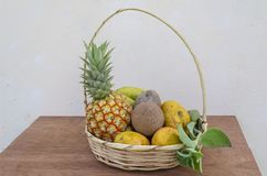Basket Of Fruits and Mint stock photos
