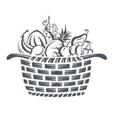Basket with fruits Royalty Free Stock Photos