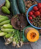 Basket with fruits and vegetables Stock Photography