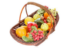 Basket with fruits and vegetables Royalty Free Stock Images